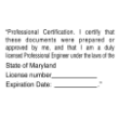 PE-MDCERTPI - Maryland Profesional Engineer Certification Pre-Inked Stamp