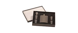 GIFT-FSKSET - 6 oz. Flask Gift Sets - includes Flask, 4 glasses, funnel and presentation box