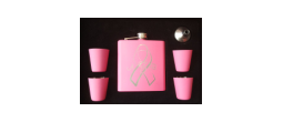 GIFT-FSKSETPINK - 6 oz. Pink Flask Gift Set with Ribbon