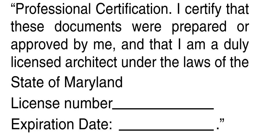 Maryland Architect Certification Hand Stamp